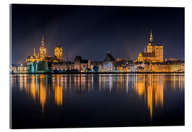 Akrylglastavla  Skyline of Stralsund at night - Kristian Goretzki