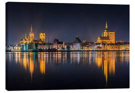 Canvastavla  Skyline of Stralsund at night - Kristian Goretzki