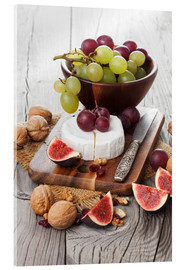 Akrylglastavla  Camembert cheese with figs, nuts and grapes