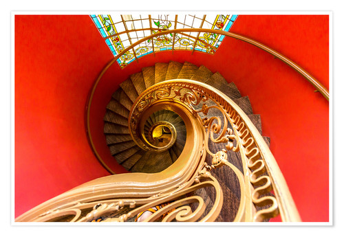 Premiumposter Spiral staircase in Brittany