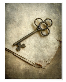 Poster Still life with old ornamented key