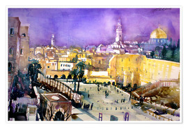 Premiumposter  Jerusalem, Dome of the Rock with Wailing Wall - Johann Pickl
