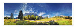 Premiumposter 360 ° mountain panorama in the Wettersteingebirge south face with Mieminger chain