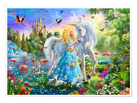 Poster  The Princess, the Unicorn and the Castle - Adrian Chesterman