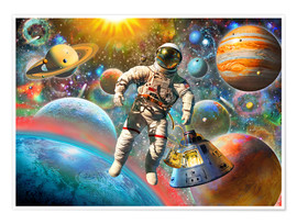 Premiumposter Astronaut Floating in Space