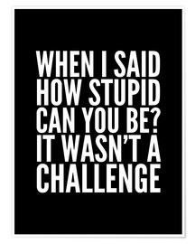Premiumposter When I Said How Stupid Can You Be It Wasn't a Challenge
