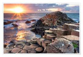 Premiumposter  Sunset at Giant s Causeway