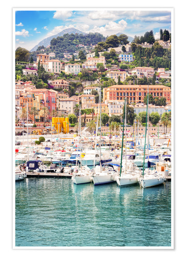 Premiumposter colorful houses and yachts in Menton