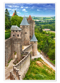 Premiumposter  Fortress Carcassonne in France, Languedoc