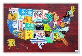 Premiumposter  License Plate Map of the USA - Design Turnpike