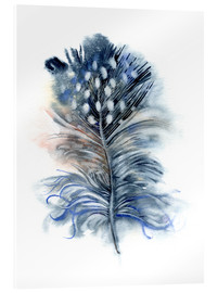 Akrylglastavla  Feather blue - Verbrugge Watercolor