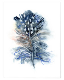 Premiumposter  Feather blue - Verbrugge Watercolor