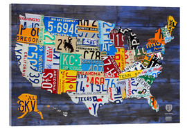 Akrylglastavla  License plate map of the USA - Design Turnpike