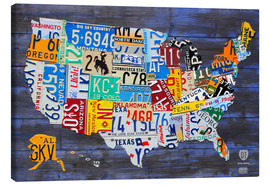Canvastavla  License plate map of the USA - Design Turnpike