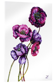 Akrylglastavla  Purple Poppies - Zaira Dzhaubaeva