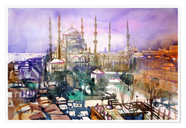 Premiumposter Istanbul, view to the blue mosque