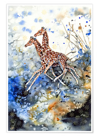 Premiumposter  Golden childhood. Giraffe babies play - Zaira Dzhaubaeva