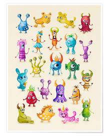 Premiumposter Illustration of colorful monsters