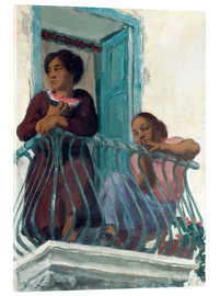 Akrylglastavla  On the Balcony - Alexander Evgenievich Yakovlev