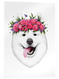 Akrylglastavla  Samoyed with flower wreath - Valeriya Korenkova