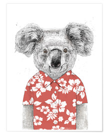 Premiumposter Koala bear with Hawaiian shirt