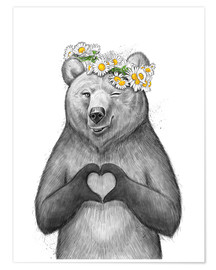 Premiumposter Girl bear with heart