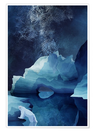 Premiumposter  Polar bear at night - Goed Blauw
