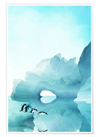 Premiumposter  Penguins in the ice - Goed Blauw