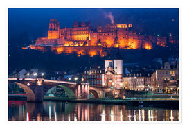 Premiumposter  Castle and Old Bridge at night, Heidelberg, Baden-Wurttemberg, Germany - Jan Christopher Becke