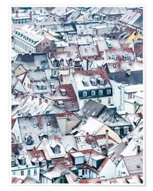 Premiumposter  Snowy rooftops in the old town of Heidelberg - Jan Christopher Becke