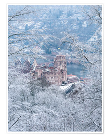 Premiumposter Castle in the snow, Heidelberg, Baden-Wurttemberg, Germany