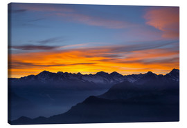 Canvastavla  Colorful sky at sunset over the Alps - Fabio Lamanna