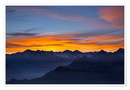 Premiumposter Colorful sky at sunset over the Alps