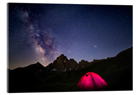 Akrylglastavla  Glowing camping tent under starry sky on the Alps - Fabio Lamanna