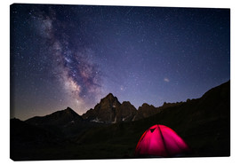 Canvastavla  Glowing camping tent under starry sky on the Alps - Fabio Lamanna