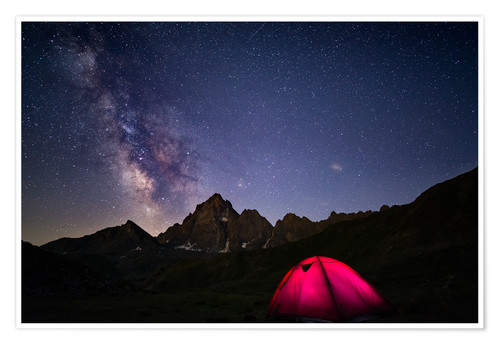 Premiumposter Glowing camping tent under starry sky on the Alps