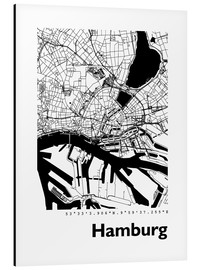 Aluminiumtavla  City map of Hamburg - 44spaces
