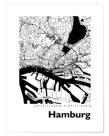 Premiumposter  City map of Hamburg - 44spaces