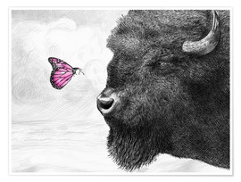 Premiumposter Bison And Butterfly