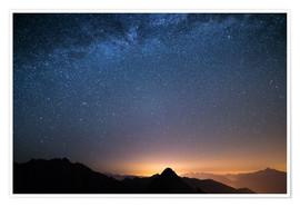 Premiumposter Starry sky and the majestic high mountain range of the Alps,