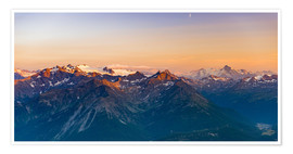 Premiumposter Sunset over rocky mountain peaks, ridges and valleys, the Alps