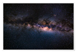Premiumposter The Milky Way galaxy, details of the colorful core.