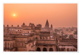 Premiumposter Orchha city at sunset, India