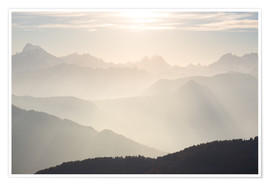 Premiumposter Sunlight behind mountain peaks silhouette, the Alps
