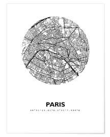 Premiumposter  Map of Paris - 44spaces