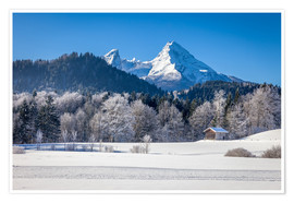 Premiumposter Snowy mountains in Upper Bavaria