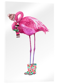 Akrylglastavla  Pink flamingo with rubber boots - Kidz Collection