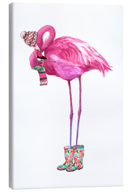 Canvastavla  Rosa flamingo med gummistövlar - Kidz Collection