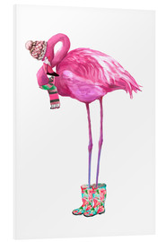 PVC-tavla  Rosa flamingo med gummistövlar - Kidz Collection