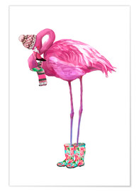Premiumposter  Rosa flamingo med gummistövlar - Kidz Collection